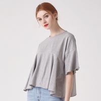 WOMEN 프릴 헴 슬리브 크롭 티셔츠(그레이)