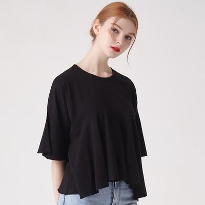 WOMEN 프릴 헴 슬리브 크롭 티셔츠 모음(3컬러)