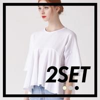 (1+1) WOMEN 프릴 헴 슬리브 크롭 티셔츠(3컬러)