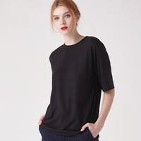 WOMEN 베이직 루즈핏 라운드 티셔츠(블랙)