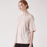 WOMEN 베이직 루즈핏 라운드 티셔츠(베이지)