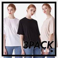 (1+1+1) WOMEN 베이직 루즈핏 라운드 티셔츠(3PACK)