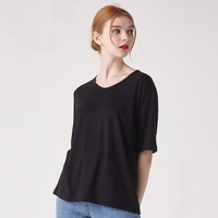 WOMEN 베이직 루즈핏 U넥 티셔츠(블랙)