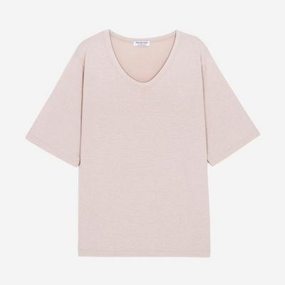 WOMEN 베이직 루즈핏 U넥 티셔츠(베이지)