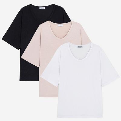 (1+1+1) WOMEN 베이직 루즈핏 U넥 티셔츠(3PACK)
