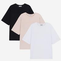 (1+1) WOMEN 베이직 루즈핏 라운드 티셔츠(3color)
