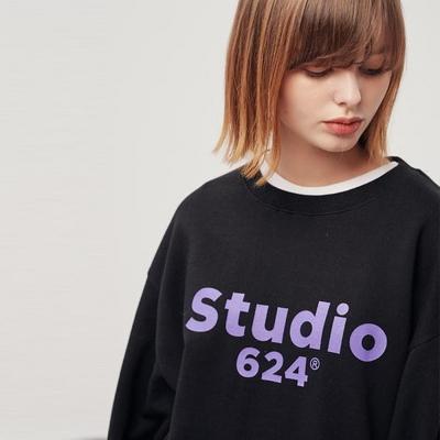 (UNISEX) 스튜디오624 루즈 빅로고 맨투맨 블랙