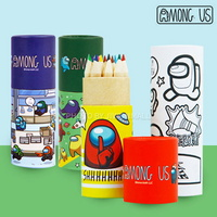 어몽어스 컬러링 테이프&원목 12색 색연필세트-랜덤