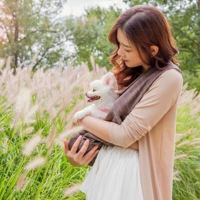 edenbliss 강아지슬링백-멜란지 브라운 pet sling bag