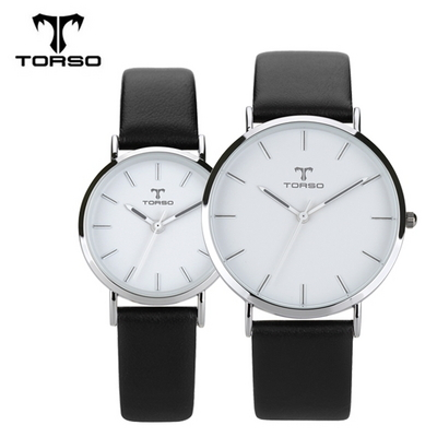 TORSO 토르소 가죽 커플 손목시계 T21 실버블랙