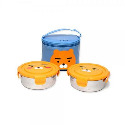 카카오프렌즈 원형스텐가방도시락(2단)_라이언_DO-316