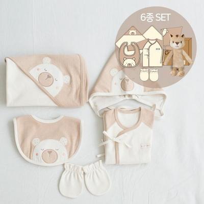 오가닉출산축하선물6종세트(애착인형아기황호+베베5종