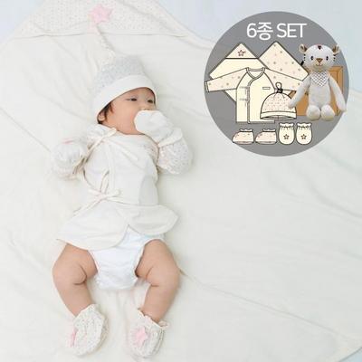 오가닉여아임신축하선물세트(의류5종+내친구백호인형)