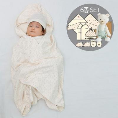 오가닉여아임신축하선물세트(의류5종+내친구곰인형)