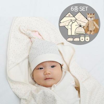 오가닉여아임신축하선물세트(의류5종+아기황호인형)