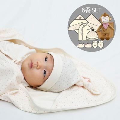 오가닉여아임신축하선물세트(의류5종+아기원숭이인형)