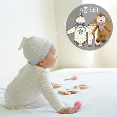[CONY]오가닉백일남아선물4종세트(의류3종+원숭이인형)