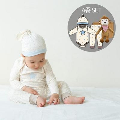 오가닉백일남아선물4종세트(의류3종+아기원숭이인형)
