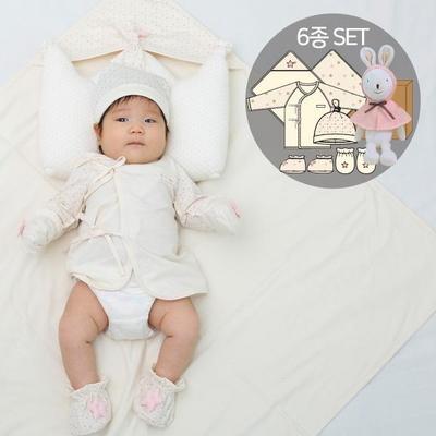 오가닉여아임신축하선물세트(의류5종+내친구토끼인형