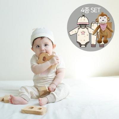 오가닉백일여아선물4종세트(의류3종+원숭이인형