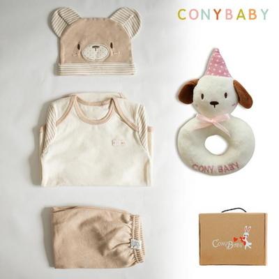 [CONY]오가닉곰돌이4종선물세트(의류3종+강아지딸랑이