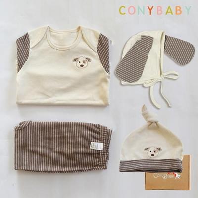[CONY]오가닉강아지띠맞이선물세트(의류3종+묶음모자)