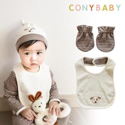 [CONY]오가닉강아지띠출산소품2종세트(턱받이+손싸개)