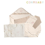 [CONY]출산3종세트(핑크배냇가운+배냇수트+속싸개)