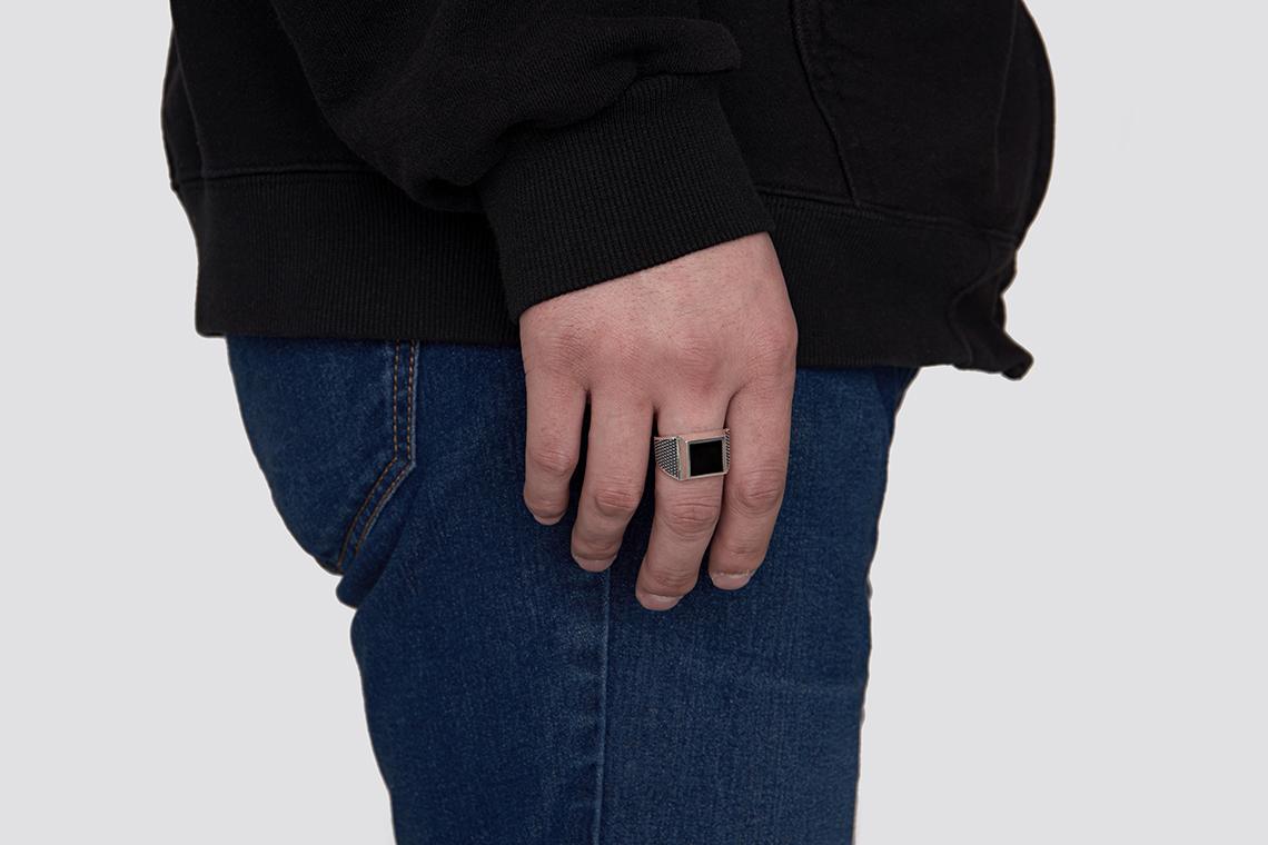 점선 사각 오닉스 원석반지 - 실버웍스, 154,000원, 남성주얼리, 반지