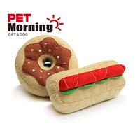 펫모닝 강아지 애착인형 장난감 도너츠 햄버거 인형 세트 1개입