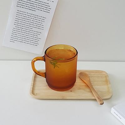 레트로 엠버 머그컵 카페유리컵 커피잔