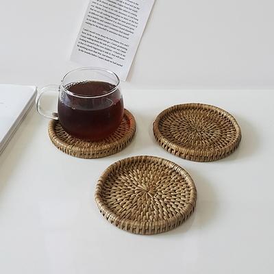 라운드 라탄 코스터 컵받침