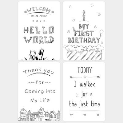 아기 성장카드 마일스톤카드 심플 블랙 (1년 기록 30장 Set)