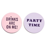 its the drinks talking coaster set - drinks are on me