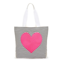 Canvas tote - black white stripe with neon hear