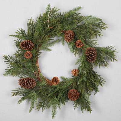 크리스마스 장식 솔방울 그린 리스 75cm