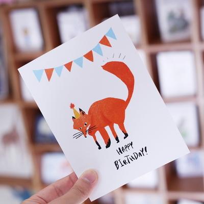 여우 생일 카드