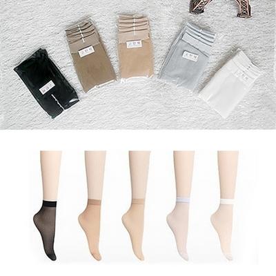 고탄력 여성 발목스타킹 - 5켤레 묶음세트 - 5color 살색 커피색 흰색 회색 검정색