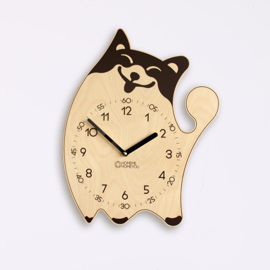 귀여운 포메라니안 강아지 어린이 벽시계 포이 세피아 - 홈미홈유, 39,500원, 벽시계, 디자인벽시계