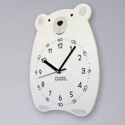 귀여운 곰 동물 벽시계 베니 화이트