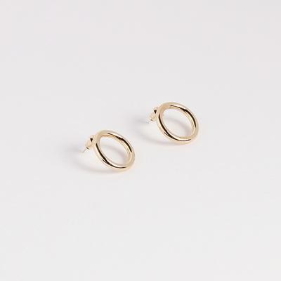 2컬러 tube circle stud earring