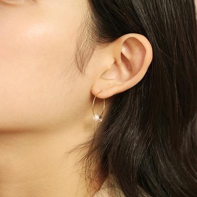 crystal pearl hook earring