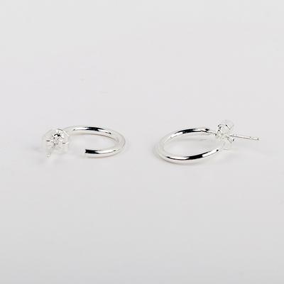 2컬러 silver open ring earring