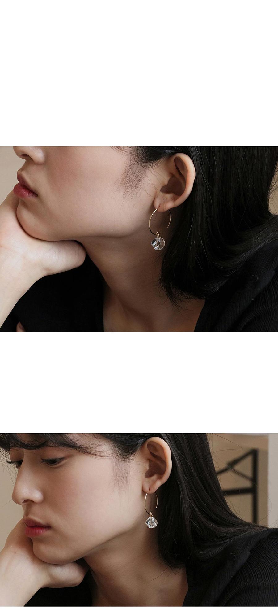 2컬러 crystal drop ring earring - 레스이즈모어, 21,000원, 진주/원석, 드롭귀걸이