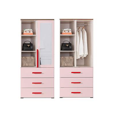 코모모 거울 800 오픈선반 3단서랍 옷장