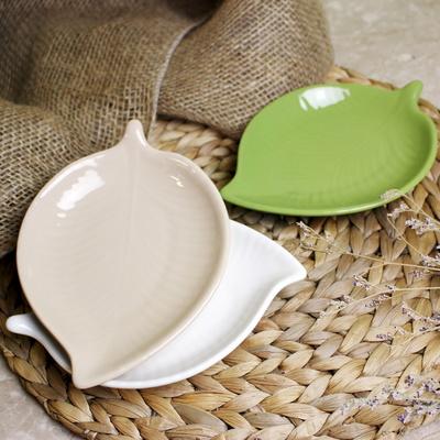 예쁜 나뭇잎 접시 앞접시 찬기 3색(화이트, 베이지, 올리브)