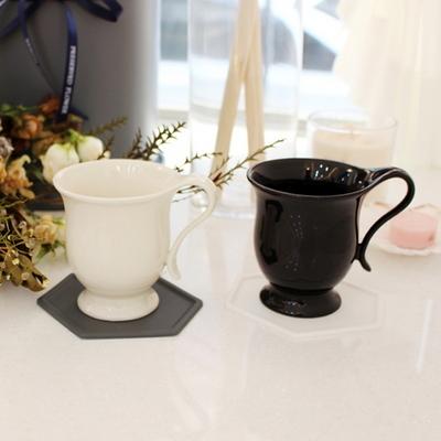 [황공방] 블랙&화이트 예쁜 도자기 클래식 머그컵 커피잔