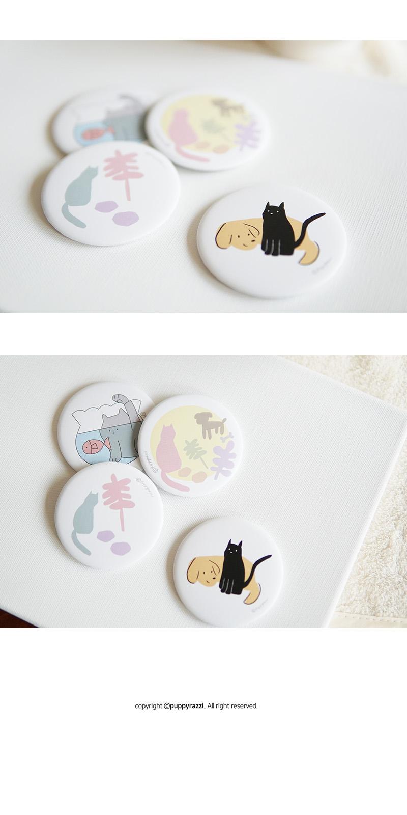 고양이와 사물들(YELLOW) 원형 손거울 - 퍼피라찌, 3,000원, 도구, 거울