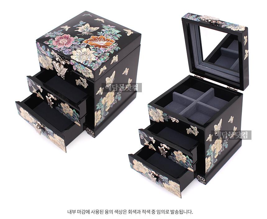 나전칠기 채색 2단 보석함 (꽃나비 흑색) - 예담몰닷컴, 97,600원, 보관함/진열대, 주얼리보관함