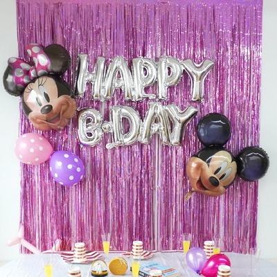 생일 파티 은박 커튼 9color 홈파티 홀로그램 반짝이